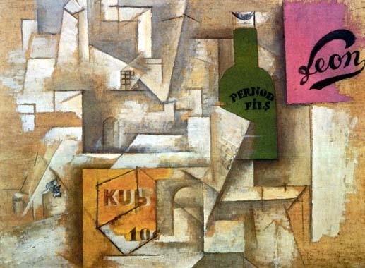 """Cubismo analítico de Picasso, """"Paisaje con carteles"""", 1912."""