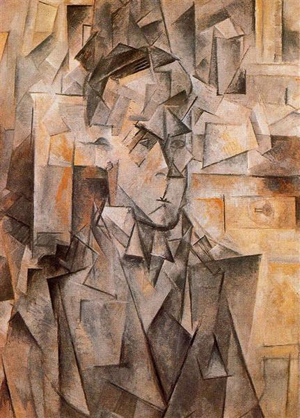 """Cubismo analítico de Picasso, """"Retrato de William Uhde, 1910."""