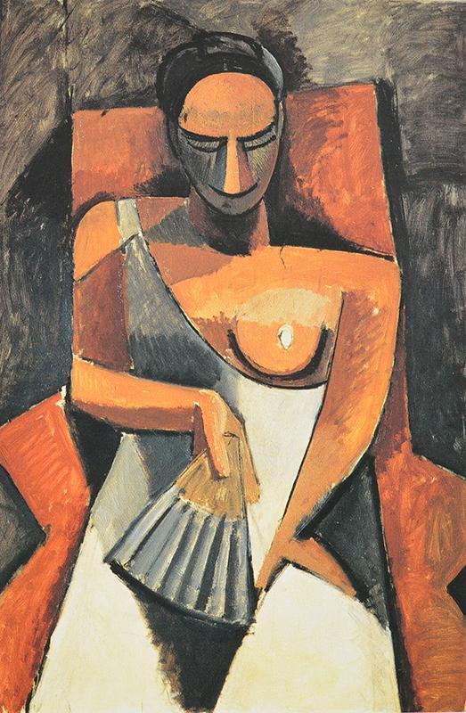 cubismo analítico de, Mujer con abanico, 1908.
