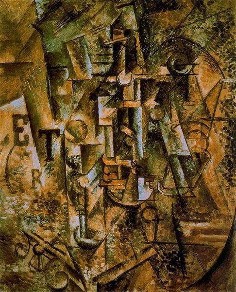"""Cubismo analítico de Picasso, """"Bodegón con botella"""", 1911."""