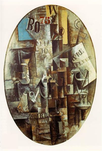 """Cubismo analítico de Picasso, """"Violín, vidrio, pipa y tintero"""", 1912."""