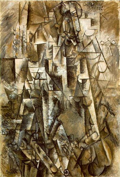 """Cubismo analítico de Picasso, """"El poeta"""", 1911."""