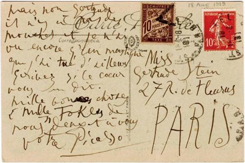 Carta de Picasso a Gertrude Stein, 18, agosto 1919.
