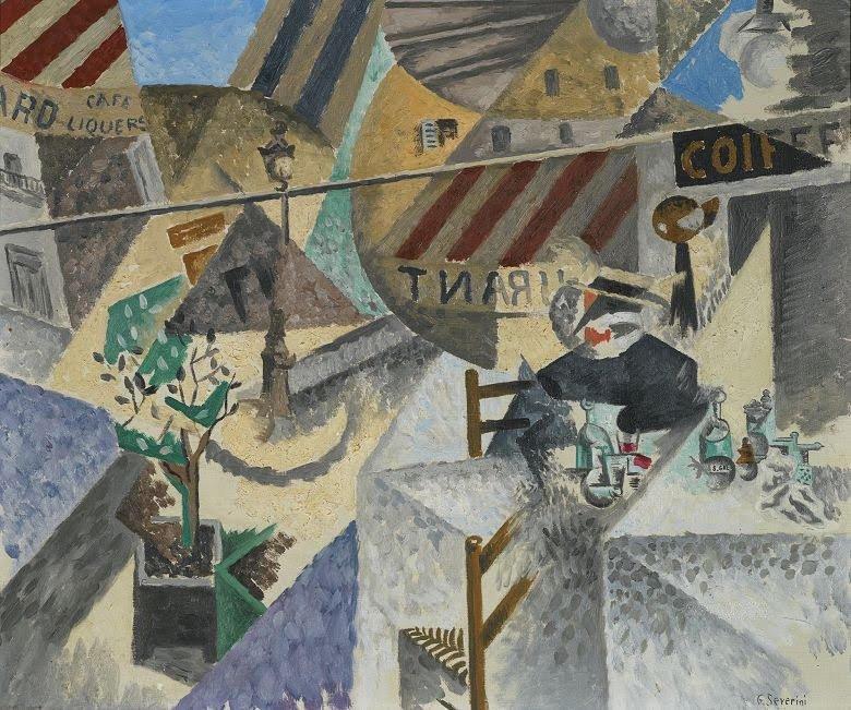 "Gino Severini , ""La terrasse d'un café de montmartre"", 1913."