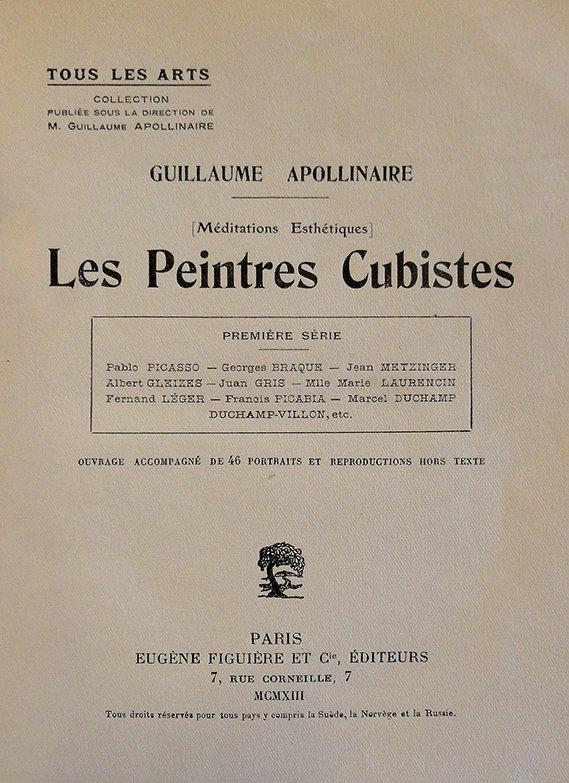 "Portada de ""Méditations esthétiques. Les Peintres cubistes"" (1913), de Guiullaume Apollinaire. El Cubismo"