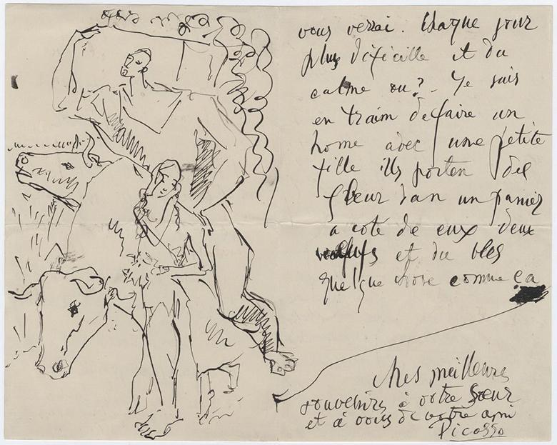 Pablo Picasso, carta a Leo y Gertrude Stein, París, 17 de agosto de 1906. (Documentos de Gertrude Stein y Alice B. Toklas, Colección Yale de Literatura Americana, Beinecke Rare Book and Manuscript Library, Universidad de Yale).