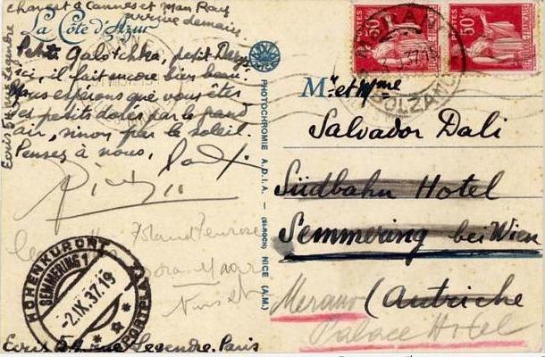 Postal de Paul Éluard a Gala en la que Picasso estampó su firma (Fundació Gala-Salvador Dalí).
