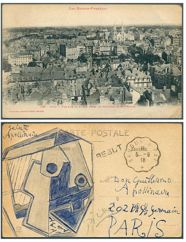 Carta de Picasso a Guillaume Apollinarire, fechada el 5 de septiembre de 1918.