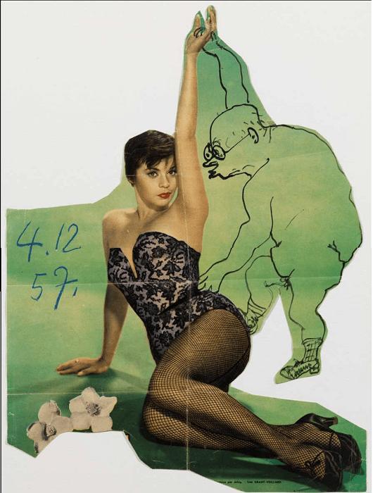 Retrato de Jaume Sabartés con Neile Adams. 04/12/1957. Tinta china y lápiz graso de color sobre papel impreso de revista recortado.