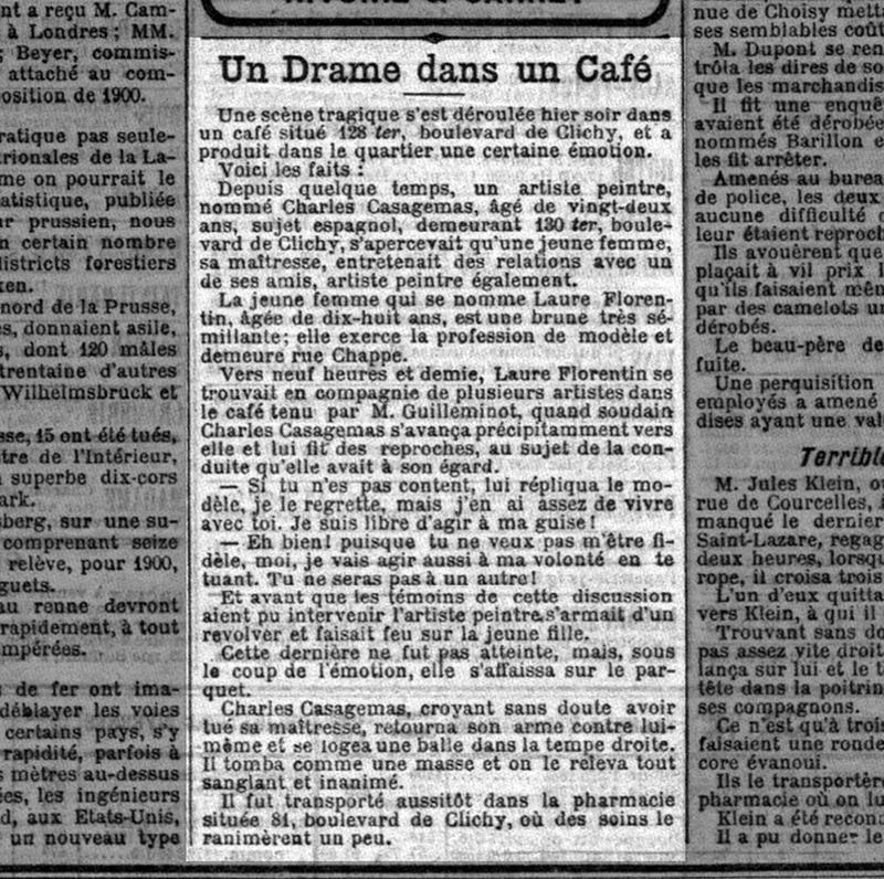 Noticia de la muerte de Casagemas, en la prensa.