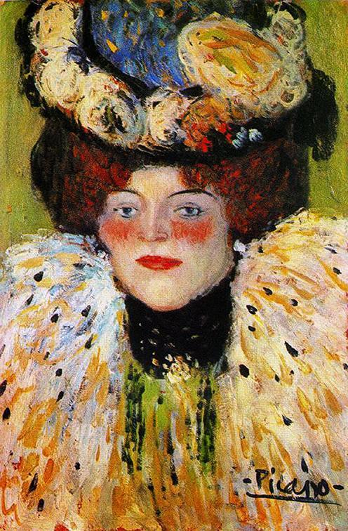 "Picasso, ""Mujer con sombrero adornado"" (1901)."